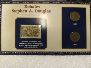 lincoln Penny and Stamp Collector s Display Card lincoln Douglas Debates