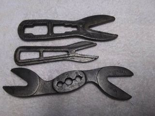 Three Antique Alligator Wrenches