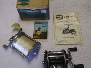 Two Vintage Fishing Reels and Mismatched Penn Reels Box