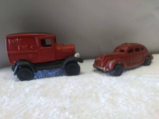 Two Vintage Cast Iron Toy Cars