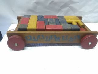 Vintage Wooden Playskool Wagon and Blocks