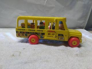 Vintage Fisher Price Toys Tug Along School Bus