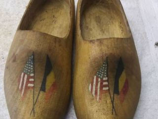 Vintage Pair of Hand Carved Clogs