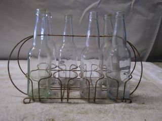 Vintage Bottle Carrying Stand and Glass Bottles