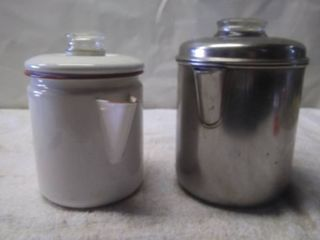 2 Vintage Coffee pots  1 Enamel Ware and 1 Stainless Steal