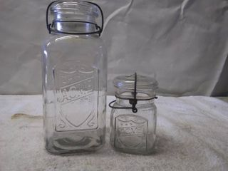 2 Vintage ACME Glass Jars