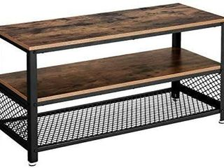VASAGlE Industrial TV Cabinet for TVs up to 43 Inches  TV Stand  Console  Small Coffee Table with Metal Frame  for living Room Bedroom  Rustic Brown   MIGHT BE MISSING HARDWARE