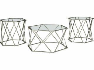 Signature Design by Ashley Madanere Chrome Finish Occasional Table Set   Set of 3