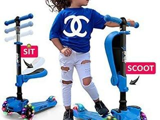 Hurtle 3 Wheeled Scooter for Kids   2 in 1 Sit Stand Child Toddlers Toy Kick Scooters w Flip Out Seat  Adjustable Height  Wide Deck  Flashing Wheel lights  for Boys Girls 1 Year Old HURFS66 5