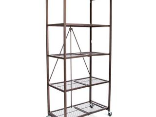 Origami large Wheeled 5 Shelf Folding Steel Wire Shelving  Bronze  21 x36 x78