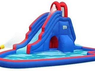 Deluxe Inflatable Water Slide Park   USED  CANT TEll IF THERE ARE AND RIPS OR TARES