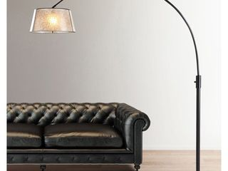Orbita 82 inch Dark Bronze Retractable Arch Dimmable Floor lamp with lED Bulb and Mica Shade   Retail 229 99  MISSING SHADE