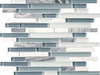 Eclipse Marina linear Glass and Stone Mosaic Tile   Strip Sticks of White   Gray Marble and Glossy Glass Tile