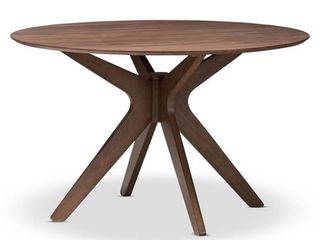 Monte Mid   Century Modern Wood Finish 47   Inch Round Dining Table    Walnut  Brown   Baxton Studio  MISSING CENTER SUPPORT BlOCK THAT HOlDS lEGS TOGETHER AND All HARDWARE