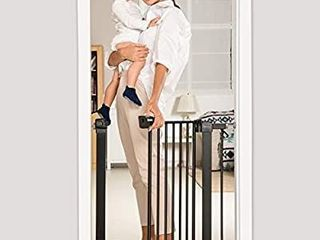 BABElIO 26 40 Inch Extra Wide Pressure Mounted Metal Baby Gate for Doorways and Stairs  with Wall Protectors and Extenders  No Drilling  No Tools Required  Ideal for Narrow or Wide Area  Black