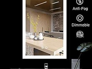 BATH KNOT led Bathroom Mirror lighted Backlit Wall Mounted Mirror with Defogger Button and Dimmable Round Touch Button  Very light White Color Vanity Mirror  24 x 36 Inch