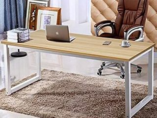 63 Inch Xl Computer Desk  Has a Wide Work Table for Writing  Games and Home Work  Modern Office and Dining Table  Made of Finished Wood Board and Sturdy Steel legs  Metal  Natural Oak and White legs