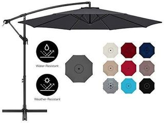 Best Choice Products Hanging Umbrella with Easy Tilt Adjustment  Polyester Screen  8 Rods for Patio  Pool  lawn and Garden   Gray