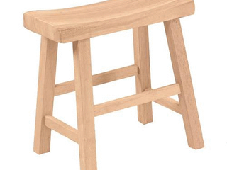 18  Saddle Seat Stool Hardwood Natural   International Concepts   Set of 2