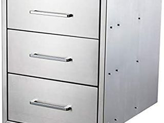 yuxiangBBQ Outdoor Kitchen Drawers Stainless Steel 18  W x 23  H Triple Drawers Flush Mount for Outdoor Kitchen or BBQ Island   MISSING TWO OF THE HANDlES  UNSURE IF DRAWERS ARE STUCK WIll COME OUT