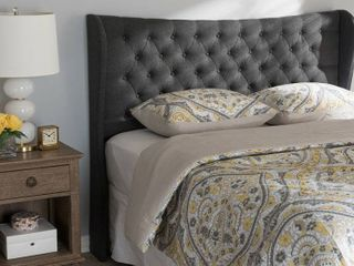 Cadence Modern and Contemporary Fabric Button   Tufted Winged Headboard   Queeen