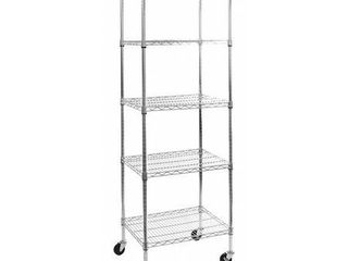 Seville Classics Ultradurable Commercial Grade 5 Tier NSF Certified Steel Wire Shelving with Wheels  24  W x 18  D  Chrome