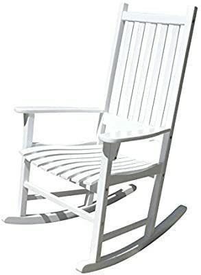 White Porch Rocker Rocking Chair Acacia Wood   MISSING HARDWARE