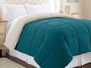 Alt Down Full Queen reversible comforter Blue Coral Oatmeal