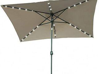 Rectangular Patio Umbrella with lED light  Trademark Innovations  Solar Powered  Measures 10 x 6 5 Feet  Dark Grey