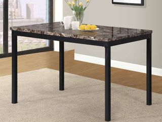 Metal Dining Table with laminated Faux Marble Top   Black  MISSING HARDWARE AND INSTRUCTIONS