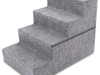 Best Pet Supplies STF241 l 4 Step Foldable linen Pet Stair  Gray linen  set of 2