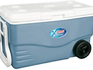 Coleman 100 Quart Xtreme 5 Day Heavy Duty Cooler with Wheels  Blue   COOlER DIFFERS SlIGHTlY FROM STOCK PHOTO