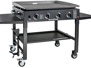 36  Propane Gas Griddle Cooking Station   4 Burner  Side Shelves  Steel Burners