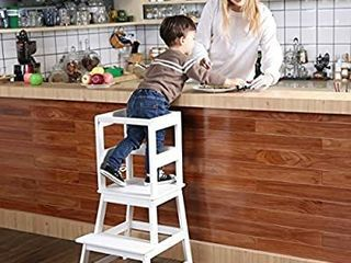SDADI Kids Kitchen Step Stool with Safety Rail  for Toddlers 18 Months and Older  White