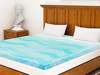 Milemont Mattress Topper Full  3 Inch Cool Swirl Gel Memory Foam Mattress Topper for Full Size Bed  Blue