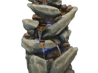 Sunnydaze Streaming Tilted Rocks Outdoor Water Fountain with lEDs   31 inch