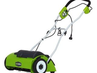 Power Dethatcher GreenWorks  Electric lime   VERY USED