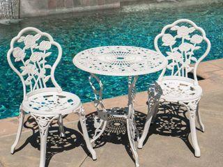 Sunnydaze White Flower Cast Aluminum 3 Piece Outdoor Bistro Set