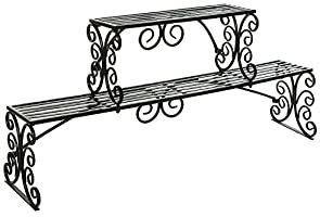 MyGift Over The Sink Black Metal Scrollwork Design 2 Tier Kitchen Organizer Shelf Rack Stand