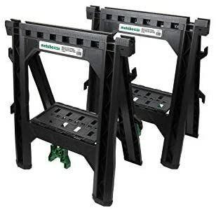 Metabo HPT Folding Sawhorses  Heavy Duty Stand  4 Sawbucks  1200 Pound Capacity  Built In Cord Hooks and Shelves  2 Pack   MISSING 2 SAWBUCKS