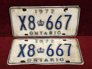 1972 Ontario license Plate Set