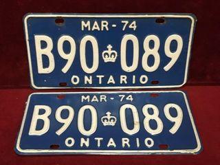 1974 Ontario license Plate Set