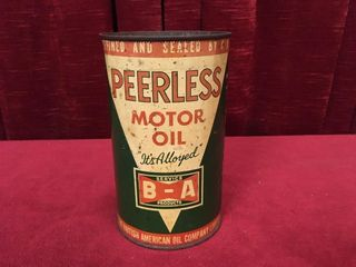 B A Peerless Motor Oil Can