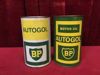 2 BP Auotgol Motor Oil Cans   1 Full