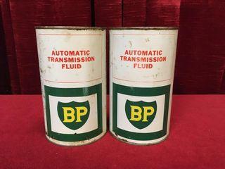 2 BP Transmission Oil Cans   Full