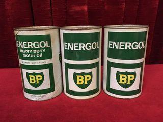 3 BP Energol Motor Oil Cans   Full