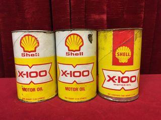 3 Shell X 100 Motor Oil Cans   1 Full