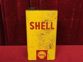 Shell 1 Gallon Oil Can   1 3 Full
