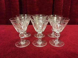 6 Vintage Etched Fine Crystal Sherry Glasses