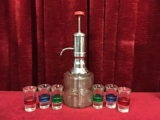 Art Deco Chrome Pump Decanter   Shot Glass Set